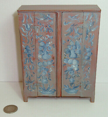 1 of 2 Vintage Roger Gutheil Dollhouse Miniature Painted Cupboard Museum Piece