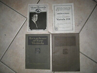 Lot of 4 Victrola catalogs instructions 1923 1918 210 New Victor Records August