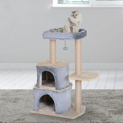 Multi-Level Cat Tree Condo Furniture with Sisal-Covered Scratching Posts Grey