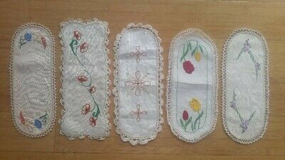 5 Vintage Hand Embroidered Sandwich Tray Doilies – Hand Crochet Borders