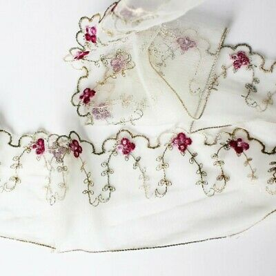 "Lily 3.75/"" White Beautiful Flower Embroidered Floral Tulle Lace Trim By Yardage"