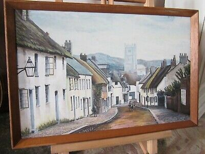 Lovely Old Mid 20th Century Painting Moretonhampstead Dartmoor Signed Framed