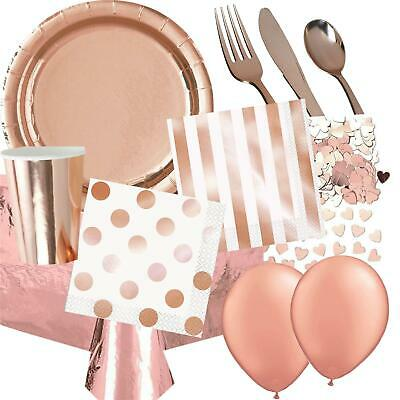 Rose Gold Party Tableware Metallic Decorations Foil Girls Hen Wedding Birthday