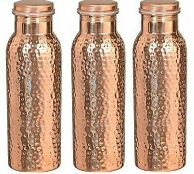 Traveller's 100 % Pure Copper Water Bottle Set of 3 Free Shipping