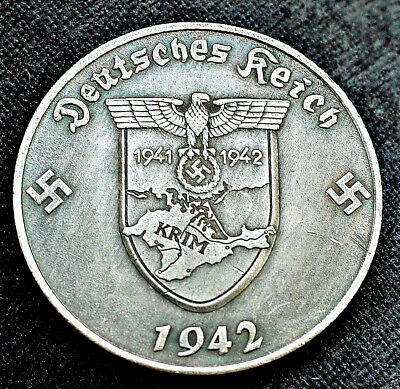 German Coin Ww2 5 Reichsmark 1942 Krim ( Crimea ) Adolf Hitler Third Reich