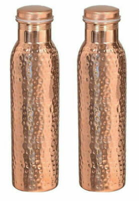 SET of 2 Pc Indian 100% Pure Copper Hammered Water Bottle 1000 ML Jointless Yoga