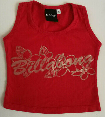 BILLABONG Baby Girls Red SInglet Top Racer Back Style Gold Graphics Size 1 BNWOT
