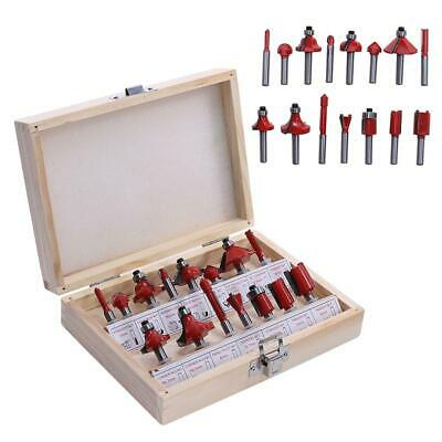 "15Pcs 1/4"" Router Bit Set Shank Tungsten Carbide Rotary Tool With Case Box AU"