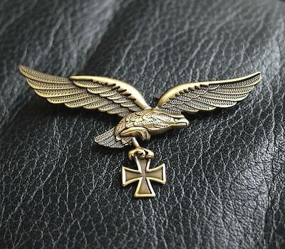 German Golden Luftwaffe Eagle With Iron Cross Badge Ww2 Air Force 3Rd Reich