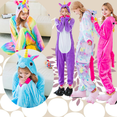 Kid Adult Unicorn Onesie11 Sleepwear Unisex Animal Costume Cosplay Pyjamas Women