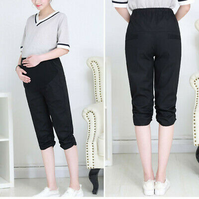 Pregnant Women Maternity Calf-Length Pants Pregnancy Casual High Waist Trousers