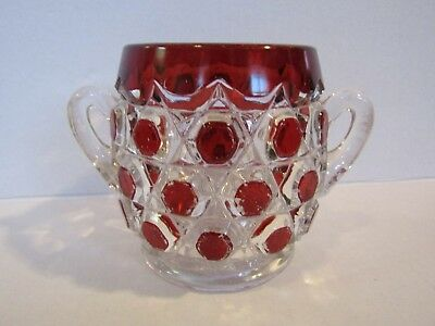 Antique EAPG Red Block Ruby Stained Glass Sugar