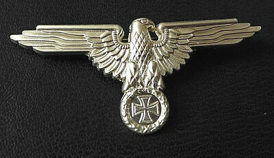 GERMAN WW2 NEW REPRO LARGE 72mm EAGLE CAP BADGE SILVER COLOUR IRON CROSS PIN