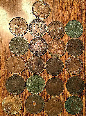 Lot Of 21 Canada Large Cents George/Edward/Vickies Lot Of 21 Coins