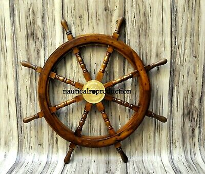 """Antique Wooden Ship Steering Wheel 36"""" Pirate Decor Wood Brass Finish Wall Boat"""