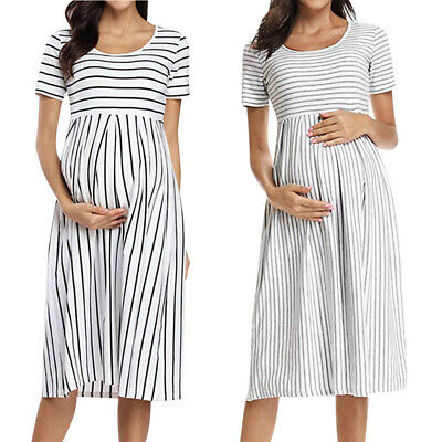Women Pregnant Stripe Nursing Breastfeeding Short Dress Summer Maternity Clothes