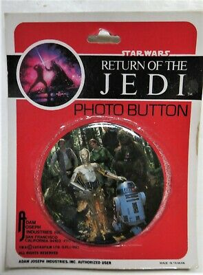 STAR WARS ROTJ -Vintage 1983 Photo Button MAIN CHARACTERS Sealed VNM -Lucasfilms