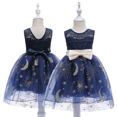 Flower Girls Princess Dress Kids Sleeveless Lace Hollow Out Wedding Party 2-9Y
