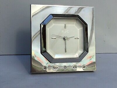 Excellant Vintage Silver Desk or Mantle Clock, Works Perfectly - Hallmarked 2000