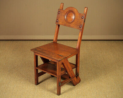 Antique 19th.c. Metamorphic Library Steps & Side Chair c.1880.