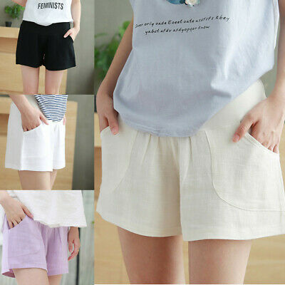 Women Pregnant Shorts Pants Pregnancy Solid Casual High Waist Maternity Clothes