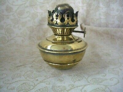 Antique British Brass Small Oil Lamp, Single Wick Burner ~ No Glass Chimney