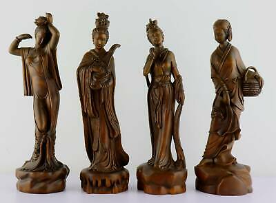 Collectable China Old Boxwood Hand-Carved Delicate Vivid Ancient Beauty Statue