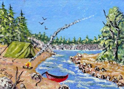 ACEO Original Old way camping by the river by artistnelson