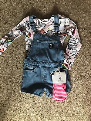 Bnwt Next Girls Denim Dungarees 3 Part Set Tights Top Age 5-6