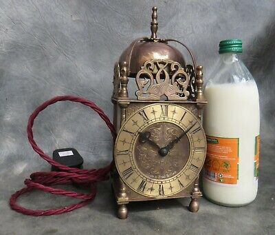 A GOOD SMITHS BRASS CASED LANTERN CLOCK WITH ELECTRIC MOVEMENT c1950 *RE WIRED*