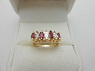 Stunning Large Marquise 14k Yellow Gold 1.00ct Natural Ruby & Diamond Band Ring