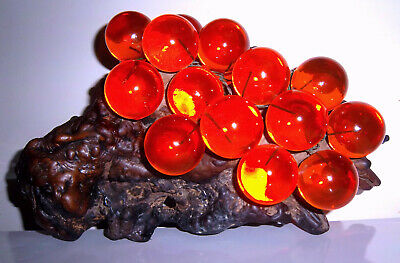 VINTAGE LUCITE GRAPE CLUSTER ON WOOD CENTERPIECE acylic resin retro space age