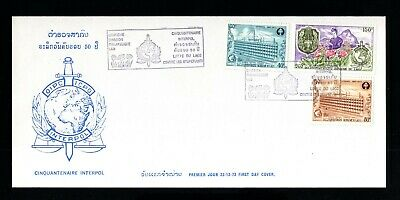 930-ROYAUME du LAOS-FIRST DAY COVER 50º ANNIVERSARY OF INTERPOL1973.Premier jour
