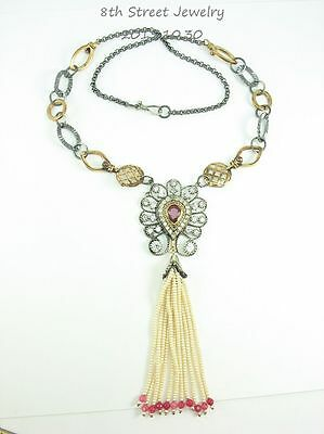 Stunning Romantic Mixed Metals Genuine Ruby, Seed Pearl & CZ FRinge Necklace