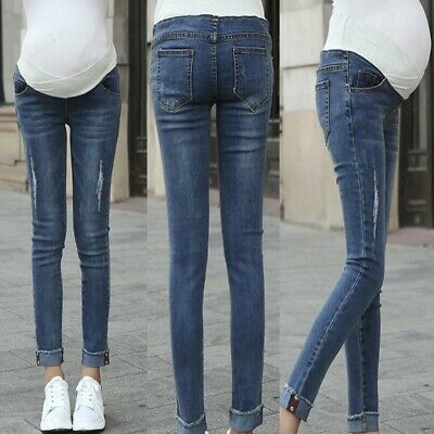Women Maternity Pregnant Elastic Skinny Ripped Denim Pants Trouser Jeans Clothes