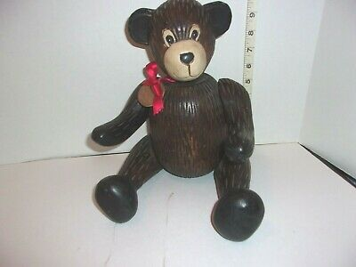 "15"" Vintage Hand Wood Teddy Bear Jointed Arms & Legs, Head turns Poseable"