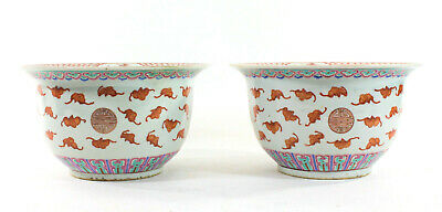 Chinese Ceramic Plant Pots Pair, Iron-red, Pink, Blue and Green - Anka Estate