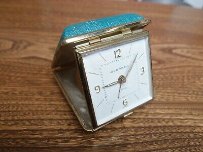 """Small Vintage Travelling Alarm Clock """"Westclox"""" Made In Germany Working Order"""