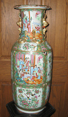 HUGE EARLY 19th c. RARE CHINESE ROSE FAMILLE VASE 23 in.tall