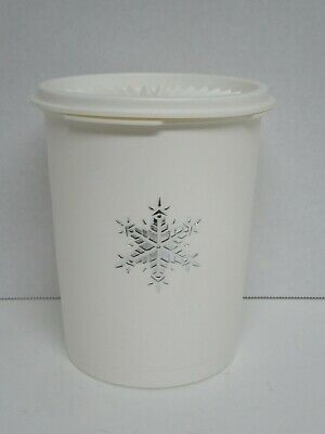 Vintage White Tupperware Silver Snowflake Canister #811 Servalier Lid  VGUC