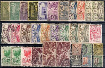 FRANCE COLONIES GUADELOUPE Lot de 33 timbres divers 1905-1947 OB