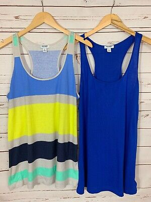 Pair of Old Navy Large Razorback Flowy Tanks Blue Yellow Mint Gray Striped