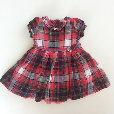 Baby Girls GEORGE Red Tartan Christmas Checked Party Dress Size 0-3 Months