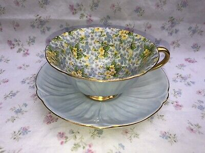 Shelley Oleander Primrose Chintz Tea Cup Saucer England Bone China