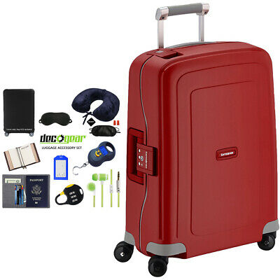"""Samsonite S'Cure 20"""" Zipperless Spinner Luggage Red + Luggage Accessory Kit"""