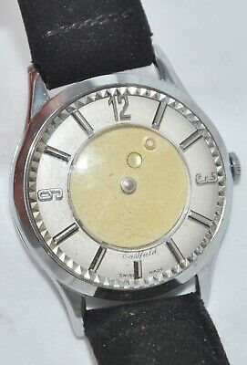 Vintage 1960's Eastfield Swiss Made Mystery Dial Watch Mechanical Suede Band