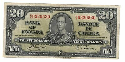 1937 Bank Of Canada $20 Dollar Bank Note Coyne/Towers  C