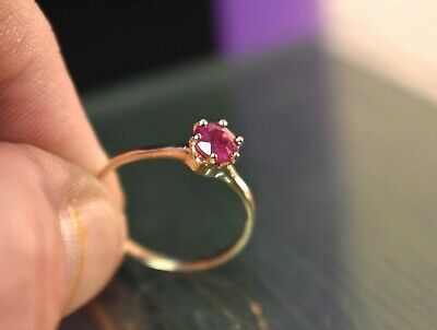 Estate antique vintage 10k yellow gold .45 ct natural ruby solitaire ring sz 7