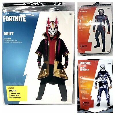 FORTNITE COSTUME HALLOWEEN Drift Skull Trooper Omega Boys M L XL Size Kids  NEW