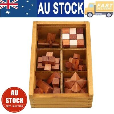6 Puzzles Deluxe Gift Set 3 Wooden 3D Brain Kong Ming Lock Teaser Puzzle Toys AU